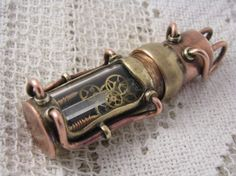 Steampunk USB flash drive with glowing quartz crystal