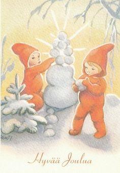 Martta Wendelin Vintage Christmas Cards, Christmas Greeting Cards, Christmas Greetings, Vintage Cards, Childrens Christmas, Christmas Fairy, Christmas Past, Illustrations, Illustration Art