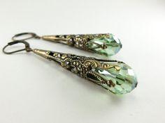 Peridot Green Earrings Long Dangle Earrings Brass by Jalycme, $18.00