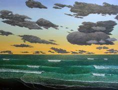 Karekare Dusk by Justin Summerton Auckland, Contemporary Artists, Dusk, Landscape Paintings, New Zealand, Australia, Fan Art, Gallery, Summer