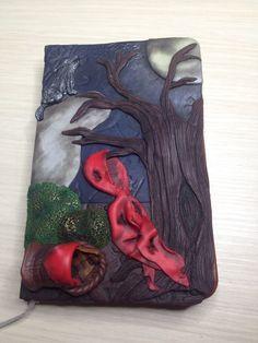 """Polymer Clay Journal, """"Creepy Tales"""" collection, Quaderno di pasta polimerica, fiabe popolari, Cappuccetto Rosso, Little Red Riding Hood di AllecramArt su Etsy"""