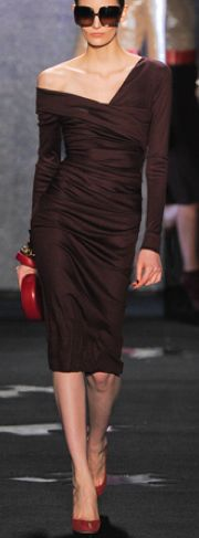 love brown and red, love how it looks like it's slipping off. Diane von Furstenberg F2012