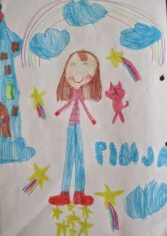 Kuvasarja tyttäreni piirrustuksista.