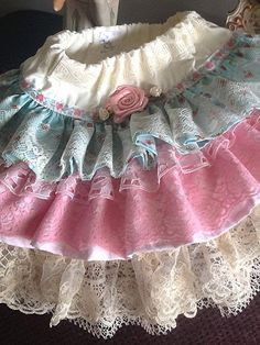 Easter pink/blue vintage ruffled toddler lace skirt by Babybonbons, $55.00
