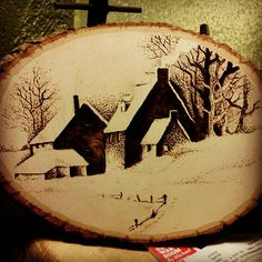 Winter Farm House Pyrography Wood Burning by TheArtsofTimeandLife, $25.00 A lovely piece, reminds me of a lot of places out in the coutryside come winter over here. Very quiet, very tranquil, you can almost hear the snow crunch ;)