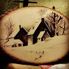 Winter Farm House Pyrography Wood Burning by TheArtsofTimeandLife, $25.00