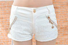 La moda de Nueva mujeres del cordón Pantalones cortos Faldas Y cortocircuitos 2015 del verano caliente de la impresión blanca de la flor femenina corto Mini Skort feminino