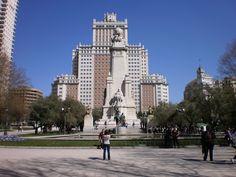 Plaza de España. You can find a monumental fountain dedicated to Miguel de Cervantes. #Madrid, #Spain