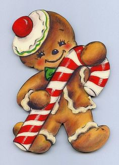 Christmas gingerbread with candy cane Decoration retro wall plaque Vintage Style