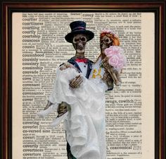 Skeleton Wedding Dictionary art print mounted vintage paper. The Bride And Groom . Till Death Do Us Part by BluebellePrints on Etsy