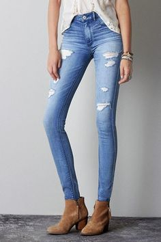 American Eagle Outfitters Medium Destroyed Wash Sky High Jegging Jeans, Womens Regular By American Eagle