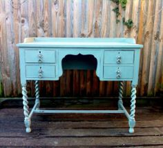 Vintage Victorian Shabby Chic Writing Desk| eBay.  Convert to bathroom vanity unit. Reemove paint on drawers and table top.