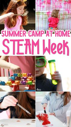 Summer Camp At Home continues - this week features STEAM for Kids. 9 different science, technology, engineering, art and math learning activities you can do at home with your kids. Perfect for toddlers, preschoolers, kindergarteners, and even 6 and 7 years old. | STEAM Kids | STEM Education | Summer Camp Activities, Steam Activities, Science Activities, Science Experiments, Outdoor Activities, Activities For 6 Year Olds, Preschool Summer Camp, Science Crafts, Outdoor Games