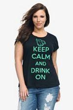 Doe - Keep Calm Drink On Scoop Neck Tee SKU: 500695
