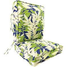 Boxed-Style Cushion - Back Attached - jcpenney Cob/wht/kwi-leaf; $84.99
