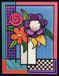 Sew Much Fun, needlepoint flowers in vase