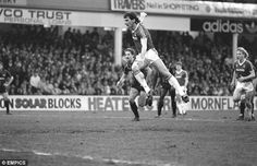Cannonball: Ray Stewart powers home the winning goal for West Ham in a match with Manchester City in 1986