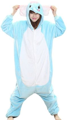 FLYCHEN Women's Kigurumi Onesie Cosplay One Pice Pajama Lounge wear Large Elephant-3 at Amazon Women's Clothing store: