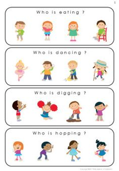 Who Questions - Action Verbs - Special Education Preschool Activity Books, Preschool Speech Therapy, Preschool Writing, English Activities, Comprehension Activities, Speech Therapy Activities, Language Activities, Learning Activities, Kids Education