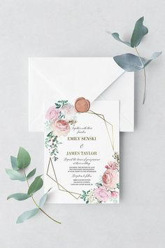 Printable Wedding Invitation Set, Floral Watercolor, Geometric Wedding Invites, Gold Wedding, Invitation Template, Elegant Wedding, Roses #weddinginvitation