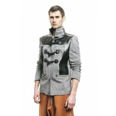 Moxos - gray blazer jacket with leather accents