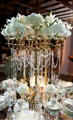 Wedding ● Tablescape ● Centerpiece ● Gold & Crystal