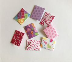 8 Heart mini envelopes, mini cards, patterned, love notes, party favour,  scrap booking, lunch box note, valentines day