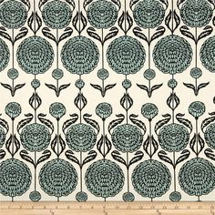 Joel Dewberry Birch Farm Chrysanthemum Egg Blue from @fabricdotcom  Designed by Joel Dewberry for Free Spirit, this cotton print is perfect for quilting, apparel and home decor accents.  Colors include cream, black and aqua.