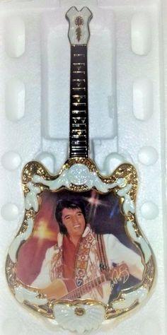 Bradford Exchange Elvis Presley 1975 The Spirit Plate In Shape of Guitar Native