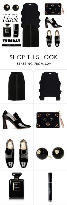 """Monochrome Tuesday"" by romaosorno ❤ liked on Polyvore featuring L.K.Bennett, Black Coral, Angela Valentine Handbags, Mark Davis, Chanel and Christian Dior"
