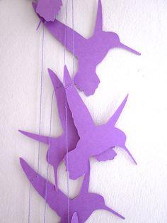 Hummingbird Garland - Bird Garland - Paper Garland - Hummingbirds of Spring Party Garland, Bunting Garland, Light Garland, Paper Decorations, Paper Garlands, Paper Cutting Patterns, Hummingbird Art, Bird Party, Paper Chains