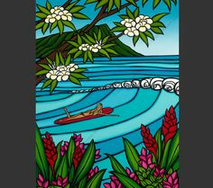 """Inspired for this painting by her experiences on the North Shore of Oahu, surf artist Heather Brown says,""""I love going to the beach with my girl friends and watching the waves roll in."""" Ladies, we all"""