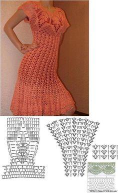 Fabulous Crochet a Little Black Crochet Dress Ideas. Georgeous Crochet a Little Black Crochet Dress Ideas. Black Crochet Dress, Crochet Skirts, Crochet Blouse, Crochet Clothes, Crochet Lace, Easy Crochet, Crochet Chart, Crochet Patterns, Clothing Patterns
