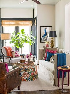 Love this living room's mix of colors and patterns!