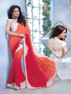 """Orange @"""" $ummer $eason """"@ Party Wear Sarees.  Pricing Call or Whats App on :-[ +91 99099 59528 ]. VISIT OUR SITE:- #""""WWW.SAREEMALL.IN""""# EMAIL US:- support@sareemall.in"""