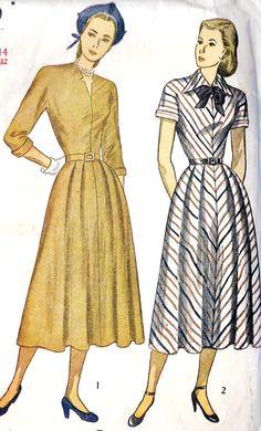 1940s Misses Day Dress Vintage Sewing Pattern by MissBettysAttic, $22.00
