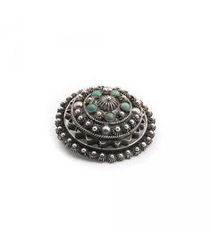 Aurora Patina Zilveren art deco broche van zilver filigrain met turquoise