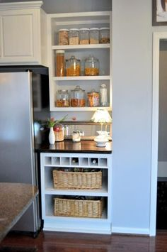 shelves in narrow space rather than cabinet.
