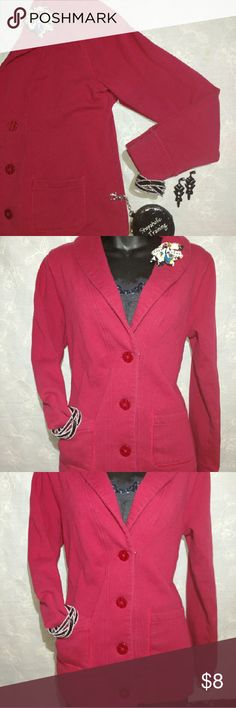Red Button Jacket *Red 4 Button Jacket *2 Front Pockets *83% Cotton 17% Polyester *Wore Few Times * Women's Size Medium* *True to Size* *No Rips* *Little Fading* *Has 3 Small Specks on Inside of Collar Merona Jackets & Coats