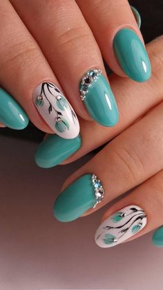 5 Unavoidable Floral Nail Art for Short Nails - Take a look!, 5 Unavoidable Floral Nail Art for Short Nails - Take a look! Effectiveness of nail art greatly depends on the shape of nail. And, for short nail, noth. Cute Spring Nails, Spring Nail Art, Nail Designs Spring, Nail Art Designs, Nails Design, Summer Nails, Floral Nail Art, Acrylic Nail Art, Nail Art Blue