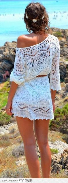 Style Inspiration: White crochet dress, off-shoulder, belted.