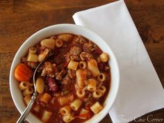 Pasta fagioli soup recipe...There is nothing complicated about a hearty pasta fagioli soup.  This version tastes nearly identical to Olive Garden's Pasta e Fagioli, full of assorted beans, beef, pasta, and wonderful seasoning.   www.tinaschic.com