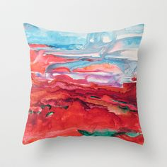 Getting Grounded Throw Pillow by Pajaritaflora - $20.00 This is an abstract landscape painting done with ink and alcohol. I ran out of alcohol and used vodka. It works! So this is a vodka ink painting.
