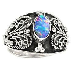 Australian Fire Opal 925 Sterling Silver Ring Jewelry s.6.5 SR190122   eBay