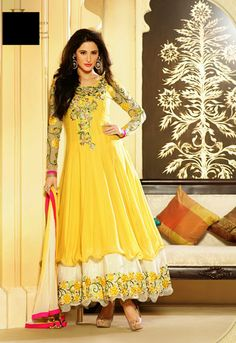 USD 82.87 Nargis Fakhri Yellow Embroidered Long Anarkali Suit 33868