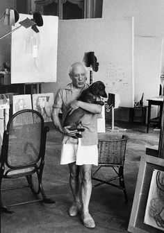 Picasso and Lump  by David Douglas Duncan