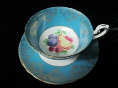 Exceptional Shelley Deep Blue with Fruit Decor by Cupsofthepast, $45.00