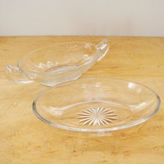 Relish Dish Set, Flower Etched Small Bowls with Handles, Clear Glass Bowls, Candy Dish  A pretty little set of oblong dishes, perfect for