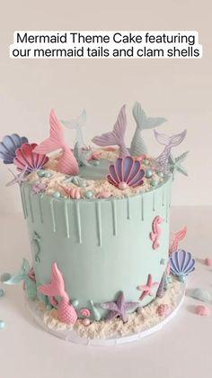 Mermaid Birthday Cakes, Cute Birthday Cakes, Beautiful Birthday Cakes, Mermaid Cakes, Birthday Ideas, Cake Decorating Frosting, Cake Decorating Designs, Pretty Cakes, Cute Cakes
