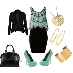 Turquoise and Black, created by girlinnashville on Polyvore
